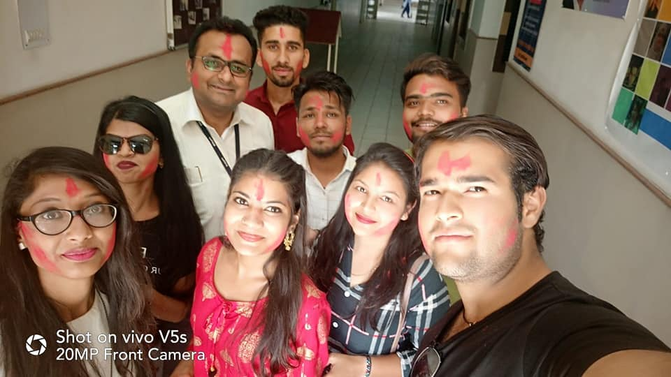 holi celebration, sagar institute of science and technology, mba college, sistec mba