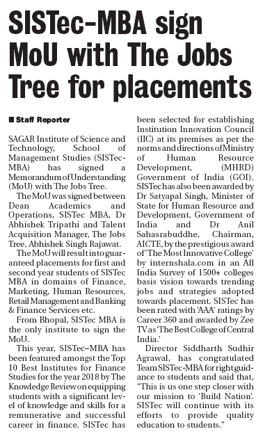 sistec mba sign MoU with the jobs tree for placements, jobs after mba