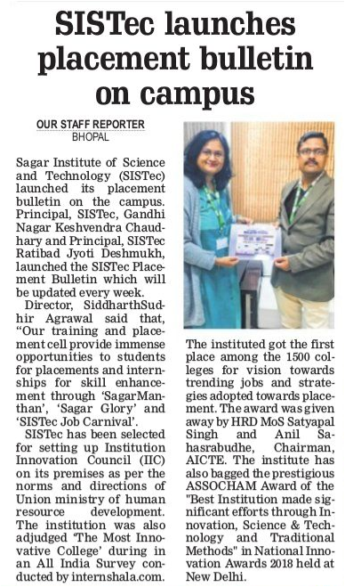 sistec launches placement bulletin on campus, sagar college