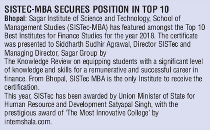 sistec mba secures top 10 position, top 10 mba colleges in mp