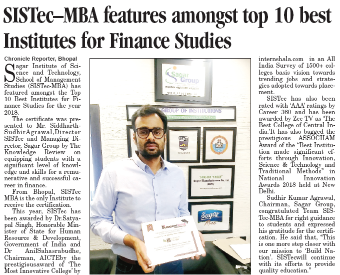 sistec mba features among top 10 best institutes for finance studies