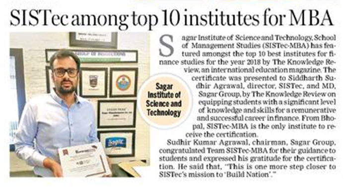 sistec among top 10 institutes for mba, top 10 mba colleges in india