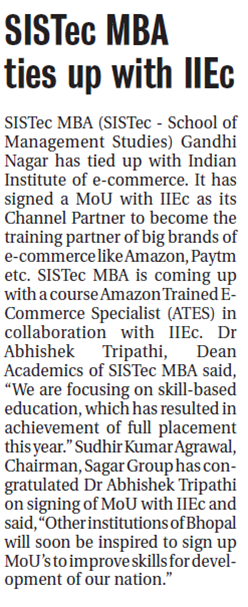 sistec mba ties up with institute of e commerce, sagar group colleges
