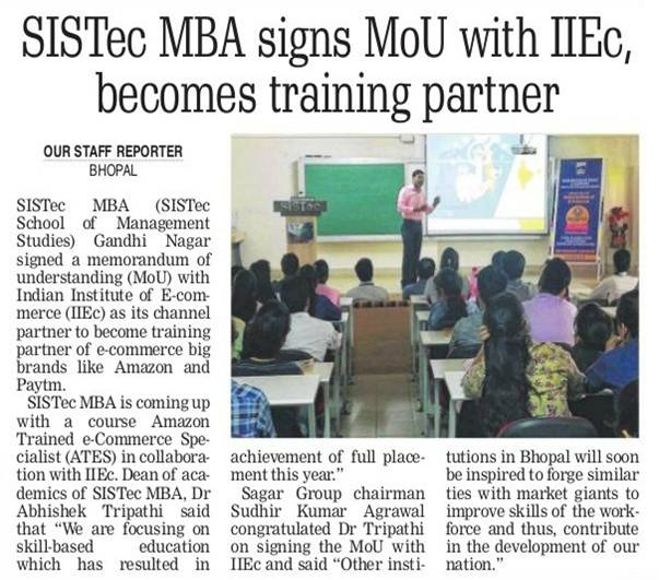 sistec mba signs MoU with IIEc becomes training partner, management