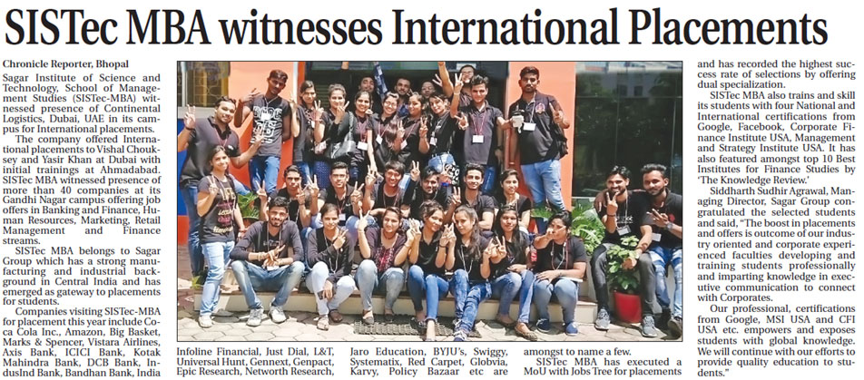sistec mba witnesses international placements, colleges in bhopal