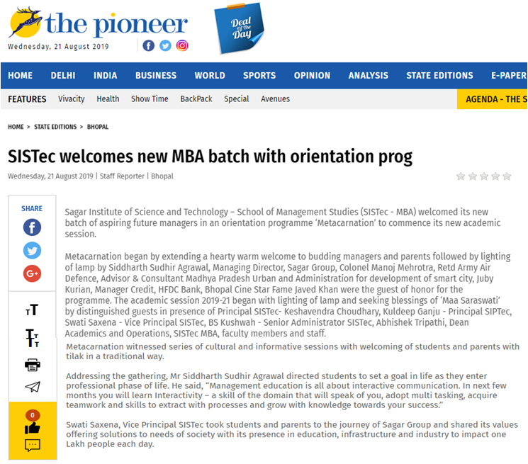 sistec welcomes new batch of mba students, top mba colleges in india